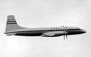 Bristol Britannia - The prototype Britannia 101 G-ALBO in BOAC markings at the 1953 Farnborough Air Show