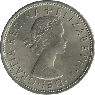 British coin issued from 1849 until 1967, worth two shillings (one tenth of a pound sterling)