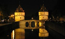 Broel Towers along the river Lys in Kortrijk