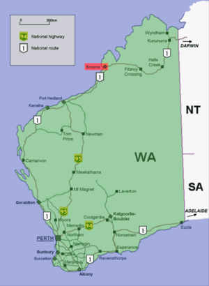 Broome location map in Western Australia