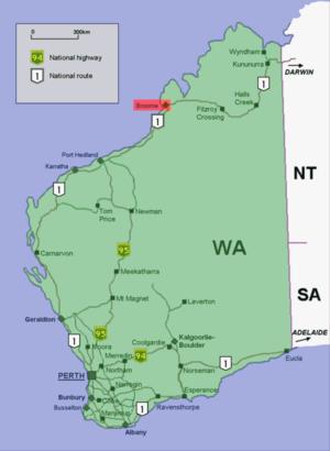Broome location map in Western Australia