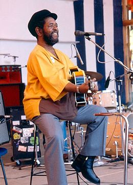 Brownie McGhee at the Nambassa 3 day Music & Alternatives festival, New Zealand 1981. Photographer Michael Bennetts..jpg