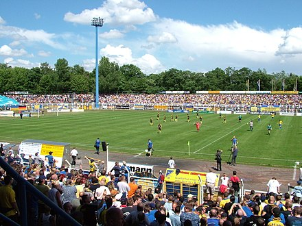 Bruno-Plache-Stadion is the home stadion of 1. FC Lokomotive Leipzig. BrunoPlacheStadion.JPG