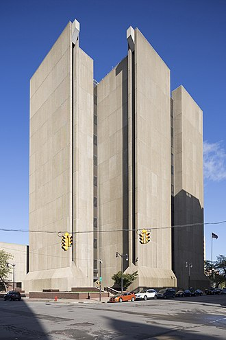 Brutalist architecture - Buffalo City Court Building, built 1971–1974 by Pfohl, Roberts, and Biggie, is a classic example of Brutalism's imposing aesthetic.