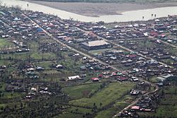 Aerial view of Palanan after Super Typhoon Megi (PAGASA name:Juan)