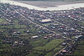 Buildings and roads in the Philippine town of Palanan are visible from a P-3C Orion aircraft carrying U.S. Sailors Oct. 22, 2010 101022-M-ZA787-148.jpg
