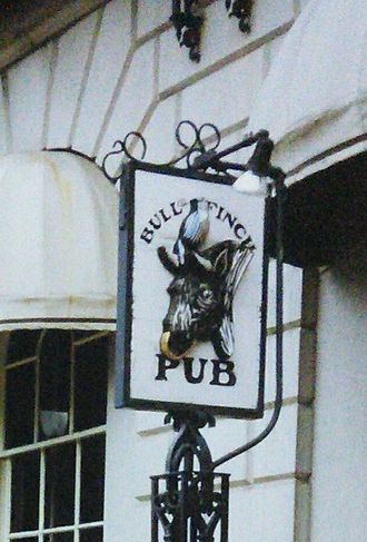 Cheers Beacon Hill - Bull And Finch Pub in the early 1990s. The original sign.