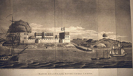 Bunce Island, 1805, during the period the slave factory was run by John and Alexander Anderson Bunce Island 1805.jpg