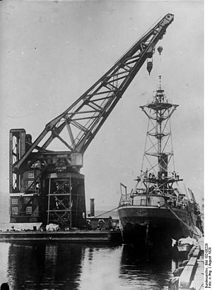 USS Patoka (AO-9) - Patoka undergoing maintenance in Boston in 1929
