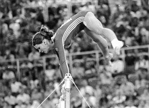1972 Summer Olympics medal table - East German Karin Janz during her gold medal-winning uneven bars routine