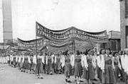 Bundesarchiv Bild 183-R78424, Budapest, II. Weltfestspiele, Festumzug, FDJ