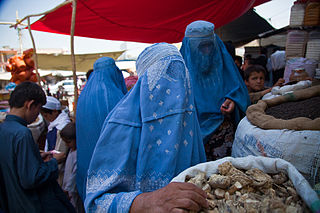 Burqa loose garments covering the entire body and having a veiled opening for the eyes; worn by Muslim women