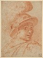 Bust of a Warrior Wearing a Plumed Helmet, Looking Toward Spectator Over His Right Shoulder (recto); Sketch of a Leg (verso) MET DP811288.jpg