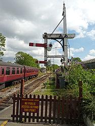 Butterley CF Station, Signal Box & bracket signal (6097393429).jpg