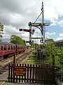 Butterley CF Station, Signal Box & bracket signal (6097393429).jpg