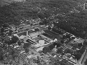 Tegal, Central Java - Aerial view of Pagonan sugar factory (ca.1928-40)