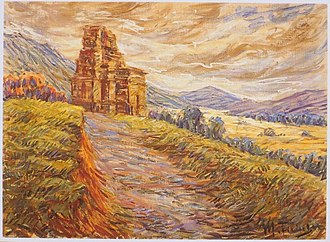 Dieng Plateau - A painting of Candi Bima in Dieng by Max Fleischer, 1912.