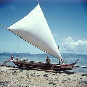 Proa - Proa with hoisted sail at the beach, circa 1970