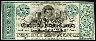 Alexander H. Stephens - Stephens depicted on an 1862 Confederate States of America $20 banknote