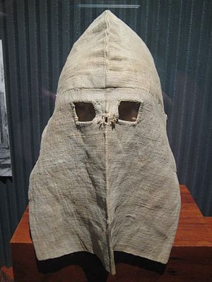 Calico - ca. 1875: Calico hoods were worn by all prisoners in solitary confinement when outside their cells (Location: Old Melbourne Gaol, Australia)