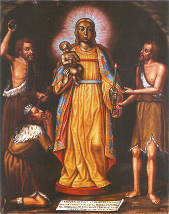 Virgin of Candelaria - Eighteenth-century painting depicting the apparition of the Virgin to the Guanches.