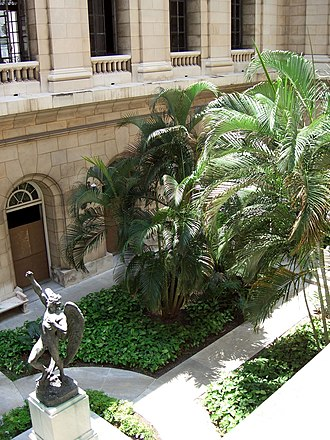 El Capitolio - Inner courtyard at the north section of the Havana Capitol (Cuba). At the left, The Rebel Angel, a work by Italian sculptor Salvatore Buemi (1860–1916).