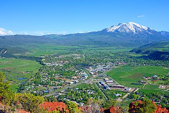 Carbondale, Colorado - Mount Sopris, south of town, as viewed from Red Hill/Mushroom Rock