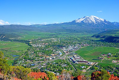 Mount Sopris, south of town, as viewed from Red Hill/Mushroom Rock