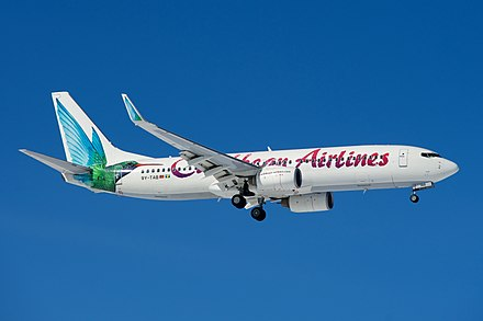 The state-owned Caribbean Airlines is the largest in the region. Caribbean Airlines Boeing 737-800 9Y-TAB (8504733249).jpg