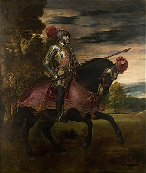 Battle of Mühlberg - Titian's Equestrian Portrait of Charles I of Spain and V of the Holy Roman Empire (1548) celebrates Charles' victory at Mühlberg