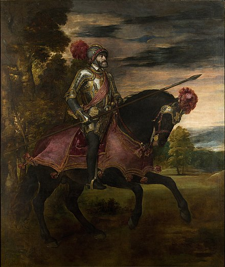 Titian's Equestrian Portrait of Charles I of Spain and V of the Holy Roman Empire (1548) celebrates Charles' victory at Muhlberg Carlos V en Muhlberg, by Titian, from Prado in Google Earth.jpg