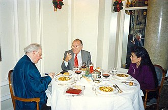 Jon Halliday - Halliday (left, and right in the mirror) and Chang with Spanish politician Santiago Carrillo.