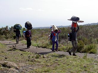 Head-carrying - Porters for an expedition climbing Mount Kilimanjaro, Tanzania, carrying large loads on their heads along a wide path.