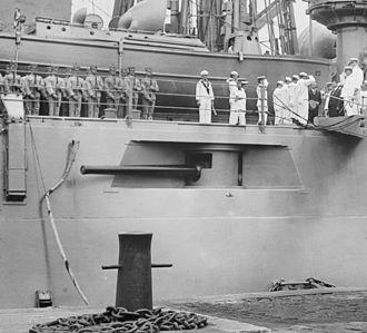 "Delaware-class battleship - Casemate mounted 5""/50 caliber gun on USS North Dakota"