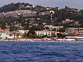 Cassis - beach and town - from the sea.JPG