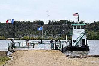 Cassville, Wisconsin - The Cassville Car Ferry on the Iowa side of the river