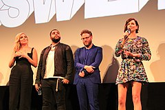 Cast of Long Shot Charlize Theron, Seth Rogen, O'Shea Jackson Jr., june Diane Raphael at SXSW 2019 (40369919733).jpg