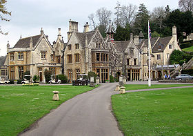 The 4-star Manor House Hotel at Castle Combe, Wiltshire, England. Built in the fourteenth century, the hotel has 48 rooms and 365 acres (1.5 km²) of gardens.
