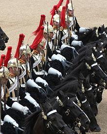 Berittene Truppen in Uniform nebeneinander, alle auf schwarzen Pferden