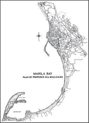 Roxas Boulevard - Daniel Burnham's plan of the sea boulevard from Manila to Cavite