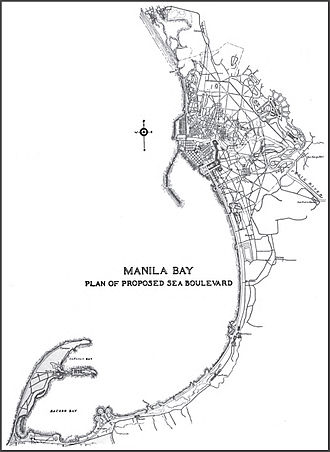 Cavite City - Cavite City and peninsula (lower left) in relation to the City of Manila (upper middle)