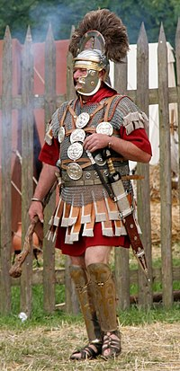 A re-enactor as a Roman centurion, c. 70. Centurio 70 aC - cropped.jpg