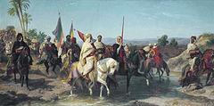 Peinture représentant des cavaliers armés