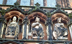 Wulfhere of Mercia - Depiction of Wulfhere on the right at Lichfield Cathedral.