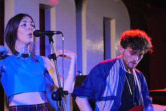 """No Angel (Beyoncé song) - Caroline Polachek (left) and Patrick Wimberly (right) of the band Chairlift worked with Beyoncé on her fifth studio album. """"No Angel"""" written by Polachek was included on Beyoncé."""