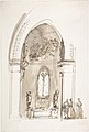 Chapel in a Gothic Church (recto); Outline sketch of an oval form (verso) MET DP807981.jpg