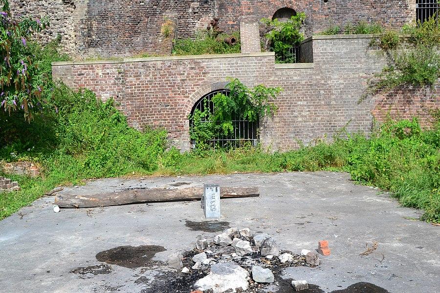 Ancient pit of the Bâneux coal mine in Liège, Belgium, in the Vivegnis borrough