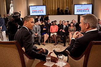 "Charles Gibson - President Barack Obama with Gibson in the East Room of the White House during ABC Newss Prescription for America ""town-hall""-style conversation on health care, June 24, 2009."