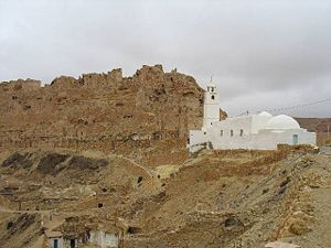 Ruined Berber village of Chenini, with its prominent mosque. Photographed by Andy Carvin