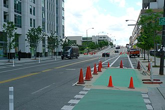 Cycling infrastructure - Cycling infrastructure being placed in Chicago, Illinois.